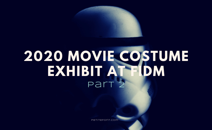Image of a Star Wars stormtrooper's mask in darkness with text overlay that reads 2020 Movie Costume Exhibit at FIDM