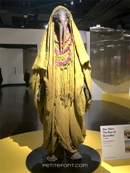 Yellow Aki-Aki display from the 2020 movie costumes exhibit at FIDM