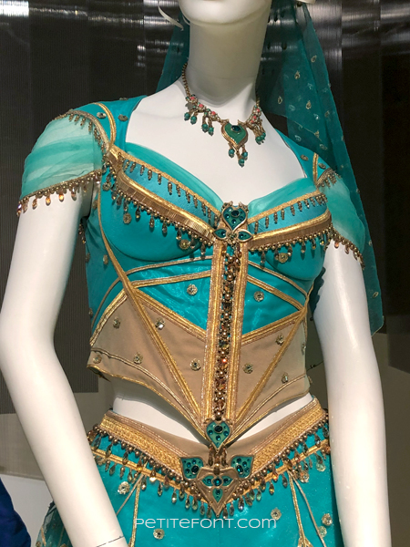 Close up of the bodice for the Jasmine costume from the movie Aladdin, at the 2020 movie costumes exhibit at FIDM