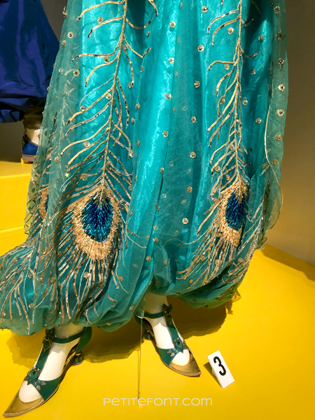 Close up of the Jasmine costume pants from the Aladdin movie, at the 2020 movie costumes exhibit at FIDM