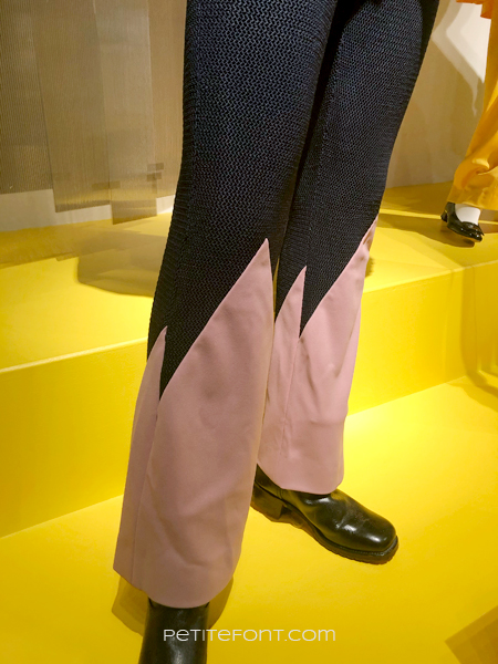Close up of Wesley Snipes' pink and black pants from My Name is Dolomite, at the 2020 movie costumes exhibit at FIDM