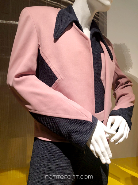Close up of Wesley Snipes pink and black costume from My Name is Dolomite, at the 2020 movie costumes exhibit at FIDM