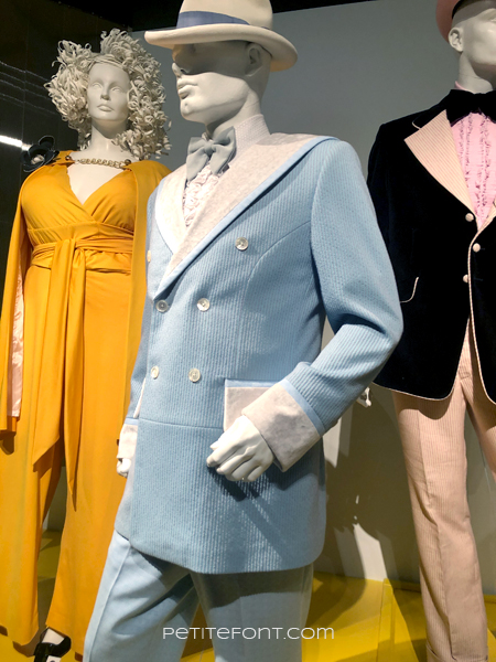 Eddie Murphy's baby blue tuxedo from My Name is Dolomite, at the 2020 movie costumes exhibit at FIDM