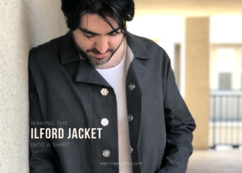 Man in an open charcoal grey Ilford Jacket as a shirt with text overlay that reads Making the Ilford Jacket into a Shirt