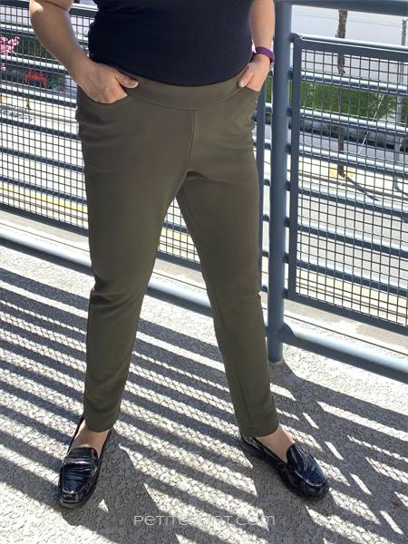 Close up shot of green Sabrina Slims pants in size 18