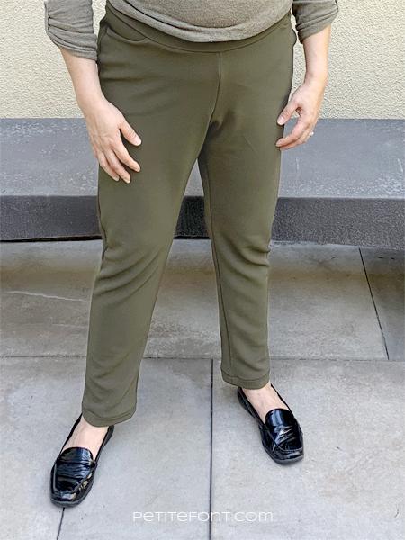 Close up shot of green Sabrina Slims pants in size 20