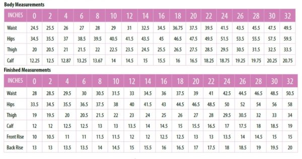 The Love Notions patters size chart for Sabrina Slims pants