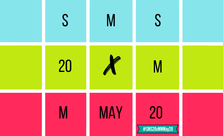 4 squares by 3 squares grid that spells out SMS 20 by Me Made May