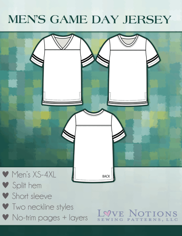 Cover of the Men's Game Day Jersey showing two flat drawings of the t-shirt, one a v-neck and one a crew neck, plus the back.
