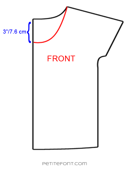 Line drawing showing how to lower and redraft a neckline for the Lou Box Top hack
