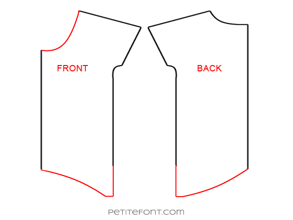 Line drawing showing how to redraft hemlines for the Lou Box Top hack