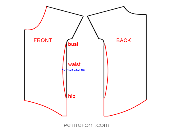 Line drawing showing how to redraft side seams for the Lou Box Top hack