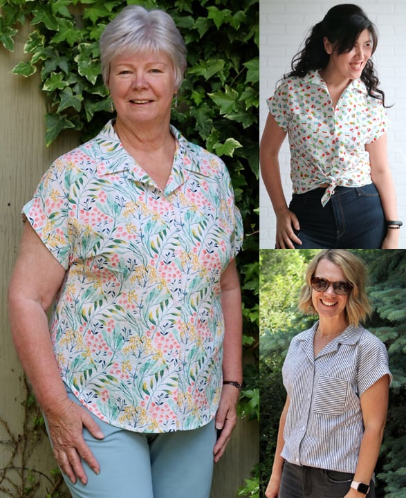 Collage of 3 different woman wearing various versions of the Love Notions Melody Dolman top