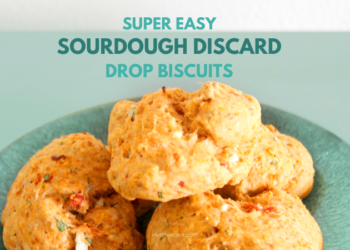 Trio of 3 Sourdough Drop Biscuits on a turquoise plate with text overlay that reads Super Easy Sourdough Discard Drop Biscuits, PetiteFont.com