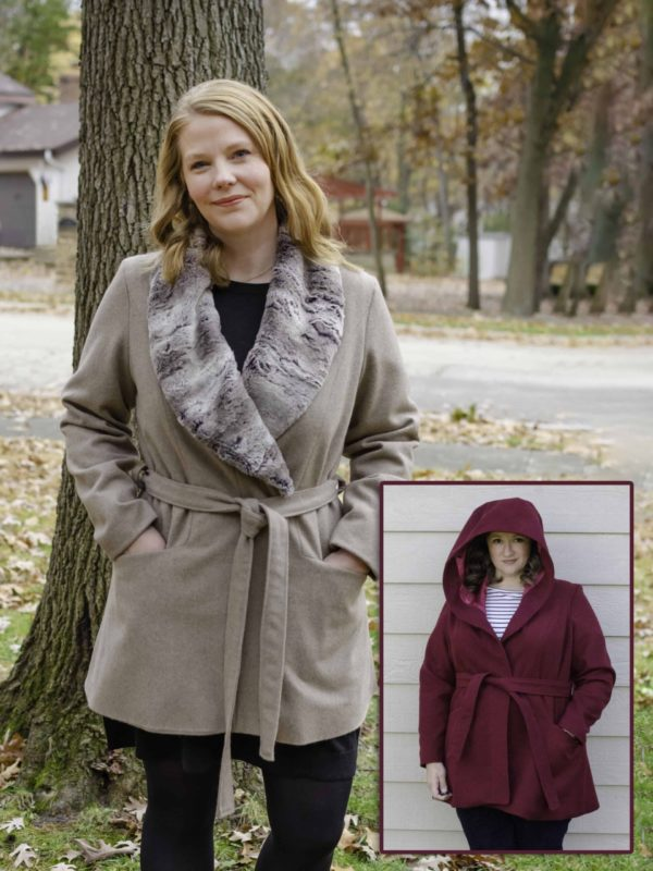 2 images of women in the Octave jacket, one with a furlined shawl and the other with a hood