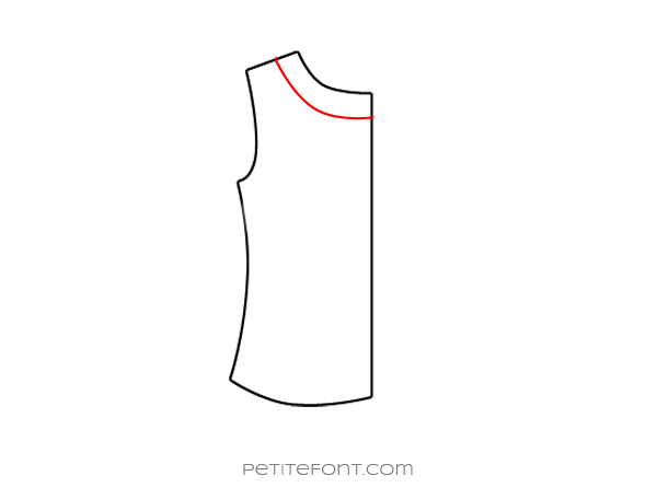 Flat drawing of a sewing pattern back bodice with a back neck facing drawn in red