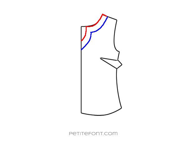 Flat drawing of a sewing pattern front bodice with the new keyhole neckline drawn in red and bottom of the facing drawn in blue