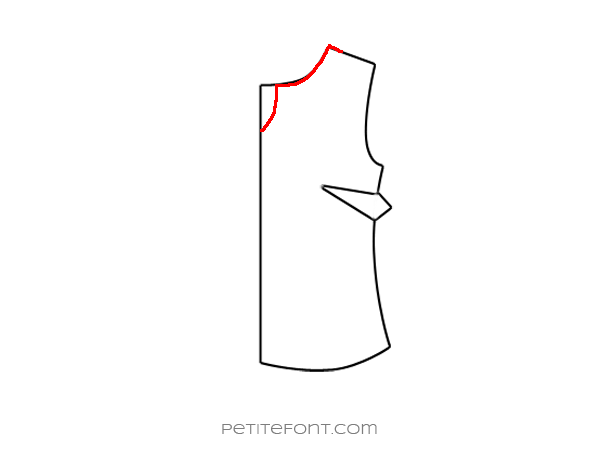 Flat drawing of a sewing pattern front bodice with the new keyhole neckline drawn in red