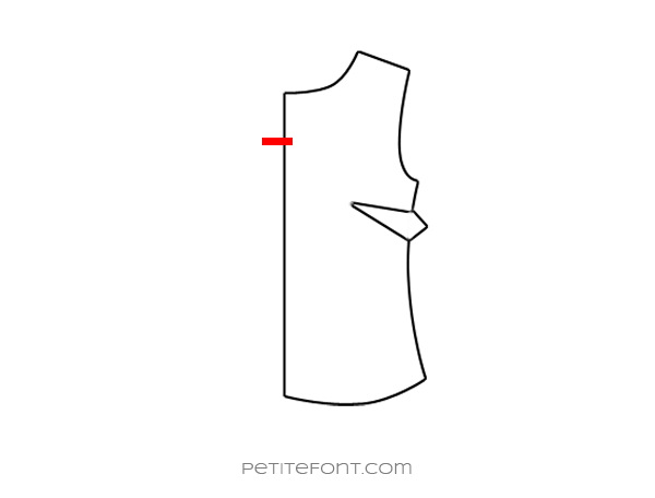 Flat drawing of a sewing pattern front bodice with the new keyhole opening drawn in red