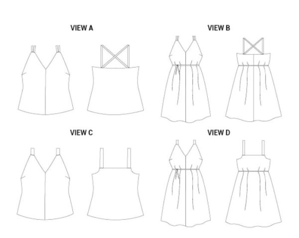 Line drawings of the Misty Cami showing length, strap, and back bodice variations.