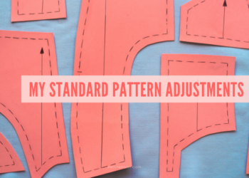 """Orange pattern pieces on a blue cloth with text overlay in orange that reads """"my standard pattern adjustments."""""""