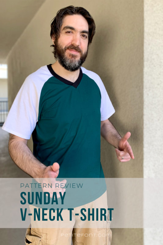 Dark haired man with a beard in a color blocked green and white t-shirt and light brown cargo shorts. Dark green text in white a box reads Pattern Review: Sunday V-neck T-shirt.