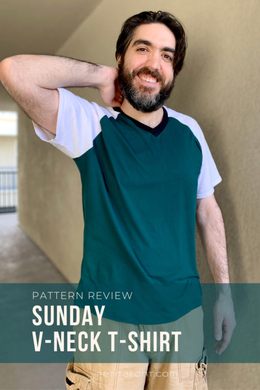 Dark haired man with a beard in a color blocked green and white t-shirt and light brown cargo shorts. White text in a dark green box reads Pattern Review: Sunday V-neck T-shirt.