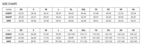 "Size chart for the Sunday V-neck raglan t-shirt ranging from XS (chest size 32"" or 81 cm) to 4x (53"" or 137 cm)"