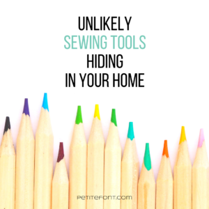 Text on white background with colored pencils at the bottom reads 6 unlikely tools hiding in your home, PetiteFont.com