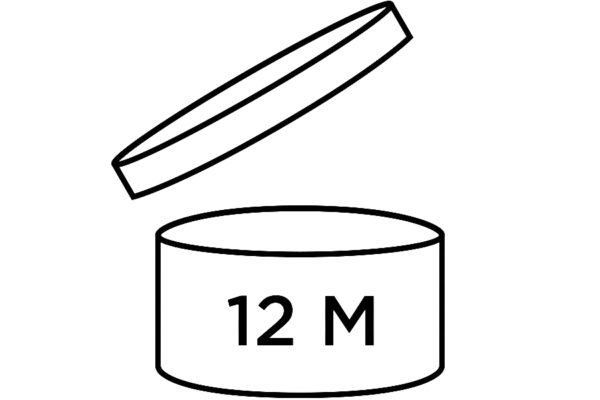 Line drawing of a jar with the lid off and a 12 M on the side of the jar. This symbolizes a cosmetics expiration date of 12 months from opening.