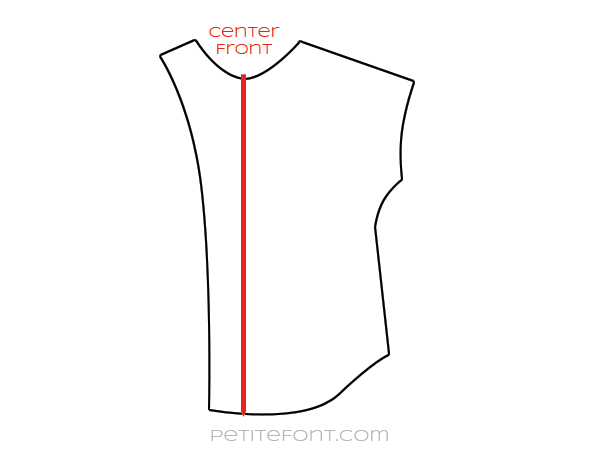 Line drawing of a front pattern piece with center front denoted by a red line and the words center front above it