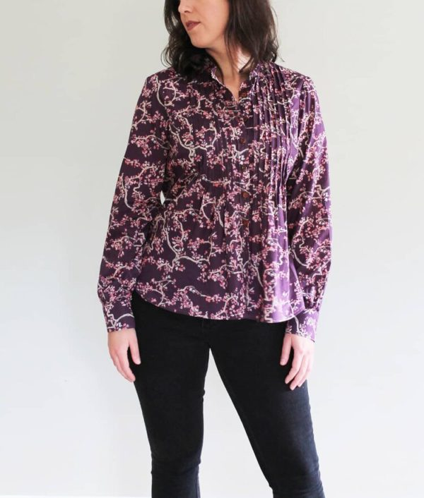 Cropped view of the Pattern Scout Byrdie Button-up shirt showing the version with front pleats