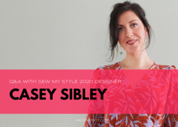 Image of Pattern Scout owner and designer with black and white text overlay in a red box that reads Q&A with Sew My Style 2020 Designer Casey Sibley