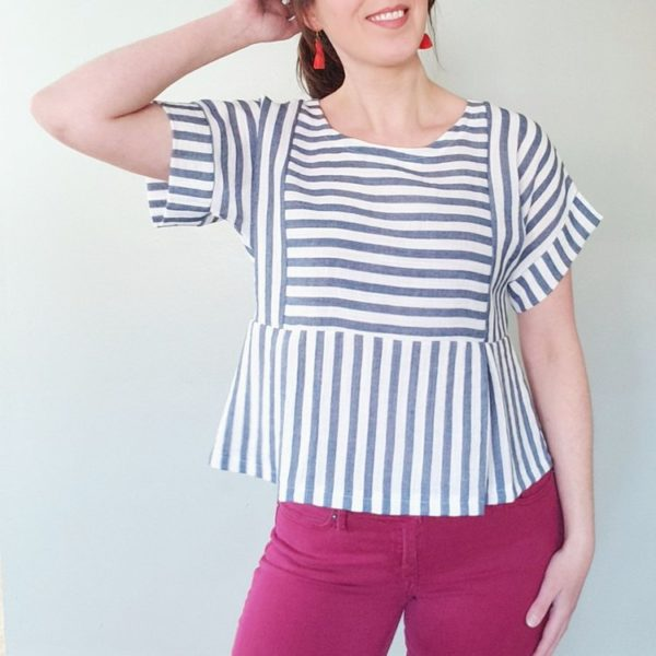 Cropped view of the Pattern Scout Fern Top in a blue and white striped fabric.