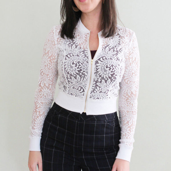 Cropped view of the Pattern Scout Lulu Cardigan in stretch lace