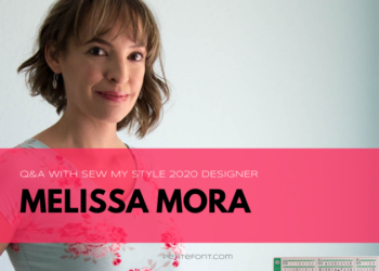 Blank Slate Patterns owner Melissa stands with her hand on her trusty white sewing machine. She is smiling at the camera wearing a blue v-neck t-shirt with pink and red flowers on it. Text overlay reads Q and A with Sew My Style 2020 Designer Melissa Mora.