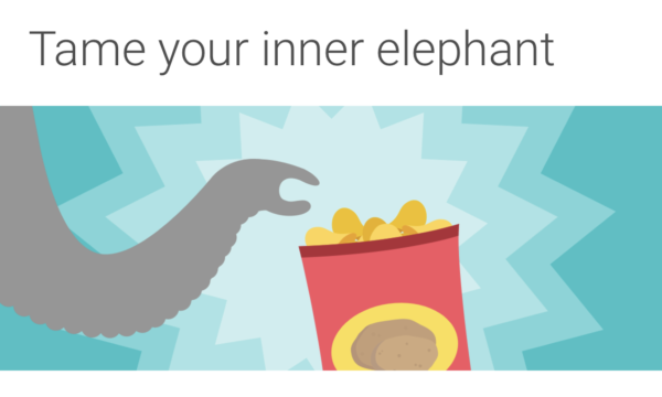 """A cartoon drawing of an elephant's trunk about to grab a peanut with text above that reads """"tame your inner elephant"""" from the Noom app."""