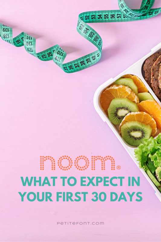 """A pink background with a healthy lunch to the side, and a measuring tape on the edge. The orange Noom logo is above text that reads """"what to expect in your first 30 days"""""""