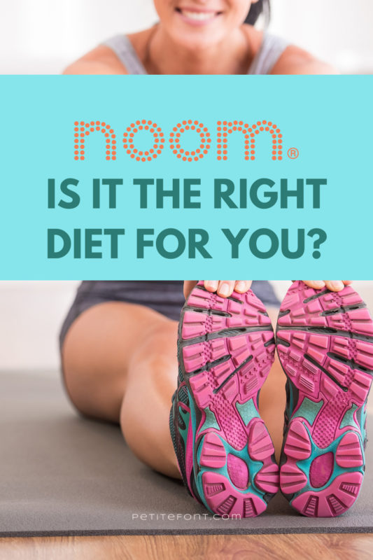 """A woman sits on a yoga mat reaching towards her pink sneakers. A blue text box has the Noom logo above the words """"is it the right diet for you?"""""""