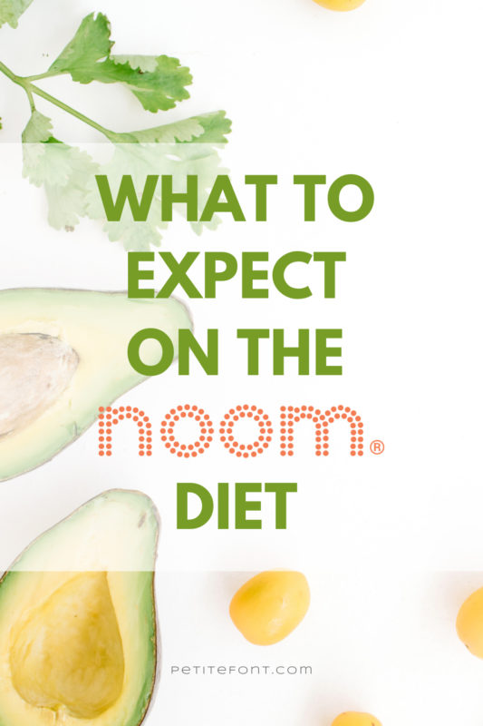 """A white background with an cilantro sprig, cut avocados, and a few garbanzo beans about. Green text above the orange Noom logo reads """"what to expect on the diet"""""""