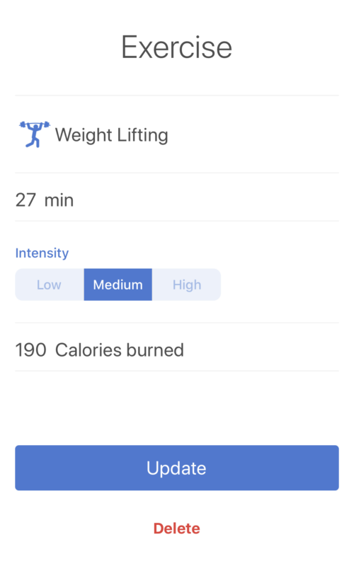 Screenshot of what the exercise screen in Noom looks like for weightlifting. 27 minutes of medium intensity burned 190 calories.