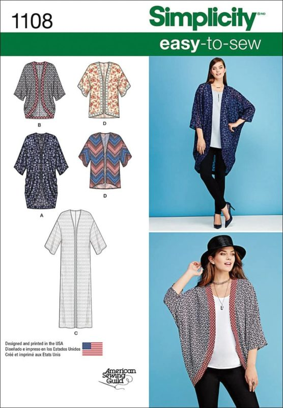 Cover photo for Simplicity 1108 sewing pattern. It features 5 line drawings of the kimono-style robe versions, as well as 2 photos of the same long haired white woman. In the top photo she is standing with am arm on her hip while wearing a long blue version of the open robe. In the second photo she is looking off to the right side while holding her hand up to a hat. This version of the robe is shorter in a black and white pattern with a red band around the edge.