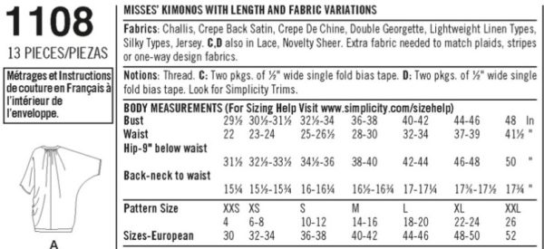 "Black text on white background describing Simplicity 1108 as Misses' Kimonos with length and fabric variations. It lists the fabric types for each version or view, notions needed, body measurements, and pattern sizes in both US and European size ranges. The pattern encompasses a bust size of 29.5"" to 48"""