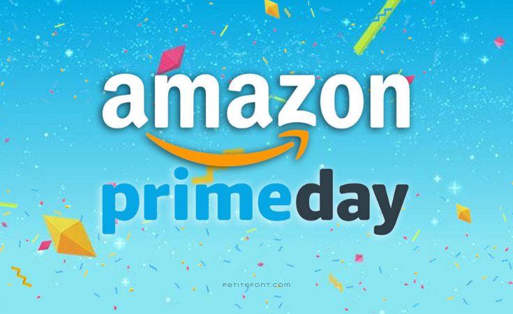 Gradient blue to aqua background with confetti. Text reads Amazon prime day.