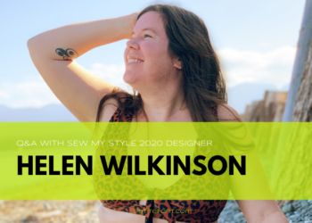 Image of Helen of Helen's Closet in a bikini on the beach. Text overlay reads Q&A with Sew My Style 2020 Designer Helen Wilkinson