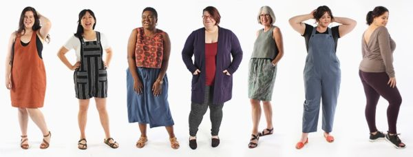 Modeled examples of many Helen's Closet patterns on a diverse set of models