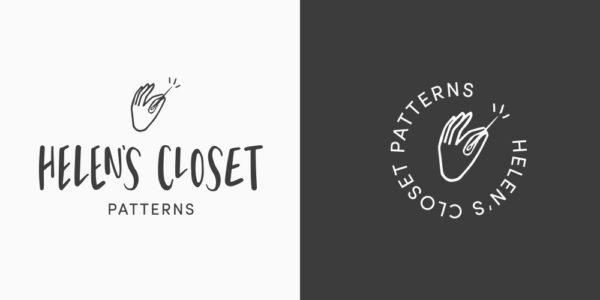 Two side-by-side images of Helen's Closet Patterns's logo in black and white