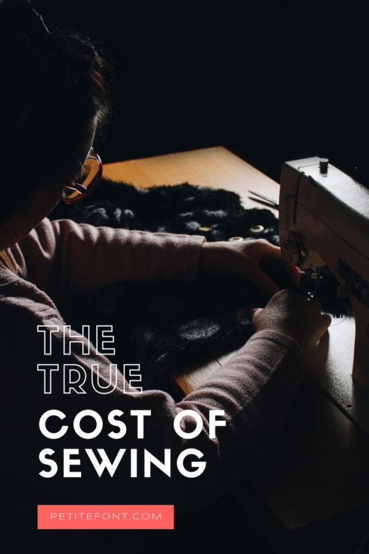 """Dark image of a person at a sewing machine. Text overlay reads """"the true cost of sewing."""""""