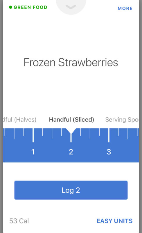 Screenshot of Noom frozen strawberry input options 2/3