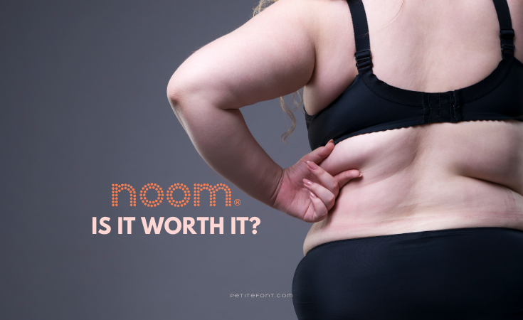 "Back view of a thick white woman in black panties and underwear, pinching her fat roll with text overlay that reads ""Noom Is It Worth It?"""